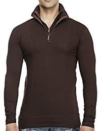 Tees Collection Men's Half Double Zip Flap Collar Full Sleeve Brown Colour T-shirt