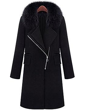 Donne Provato Cappotto Le signore Nero Faux Pelliccia Collare Lana Caldo Giacche Cappotti Superiore 80Store