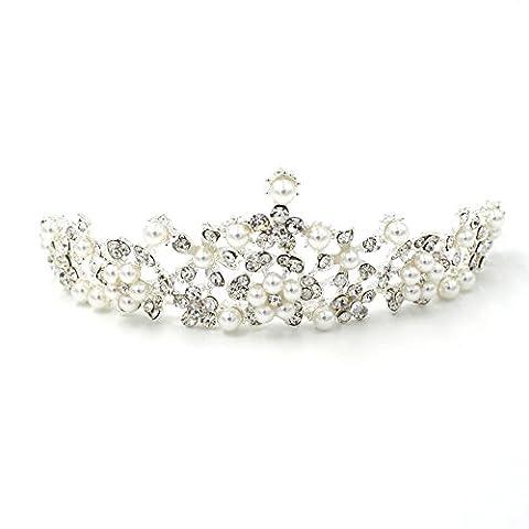 Déesse Perle de cristal Couronne Mariage Bal Diadème Fleur Coiffe Princesse accessoire pour cheveux