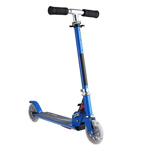 AMDirect Patineta Plegable con Manillar Ajustable en Altura Patín Scooter con 2 Ruedas Led, Azul