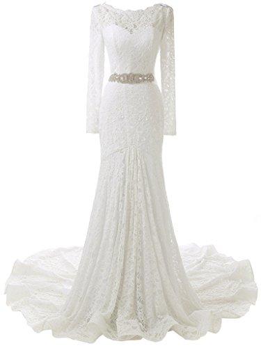 Solovedress Frauen Lange Ärmelspitze Hochzeitskleid Nixe Brautkleid Abendkleid (Europa 40,...