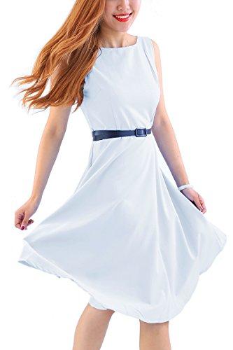 id Retro Cocktailkleid Tee Kleid Hepburn Stil Vintage Kleid Plus Größe,Weiß,XXL/DE 44-46 (Weißes Kleid Plus)