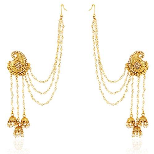 Shining Diva Fashion Jewellery 18k Gold Plated Stylish Fancy Party Wear Pearl Jhumka Jhumki Traditional Earrings For Women & Girls