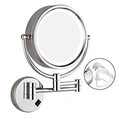 JXQ Le miroir de vanité de salle de bains a mené avec le miroir télescopique se pliant monté au mur de miroir de beauté léger (Color : Open plug)