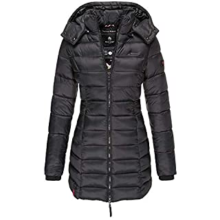 Marikoo Damen Winter Jacke Stepp Mantel Leichte Übergangsjacke Warm Lang S107 (M, Schwarz)