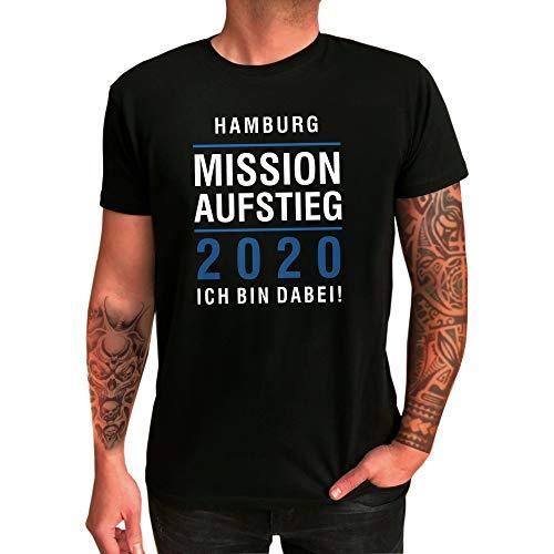 T-Shirt Hamburg | Mission Aufstieg 2020 | Ich Bin Dabei | Fanartikel - qualitativ hochwertig Bedruckt (XXXL)