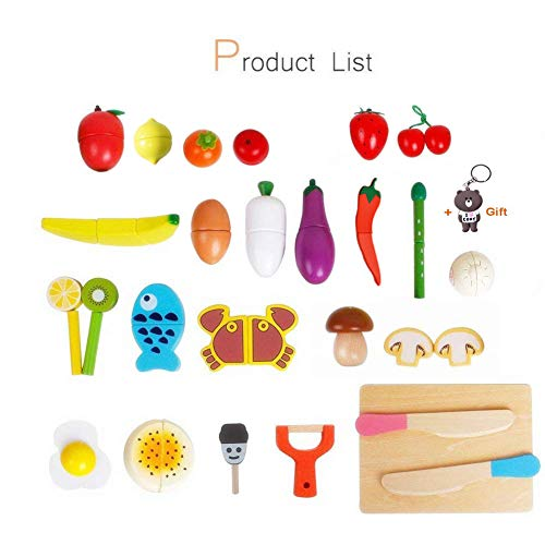 HOWADE Play Food Set 30 PCS, Wooden Cutting Food Magnetic Fruits Vegetables Kitchen Set Educational Toy Preschool Age Kids Toddlers Boys Girls