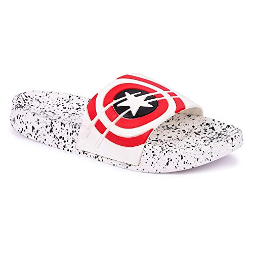 DES TONGS Men's Star Dotted Flip Flop (5, White)