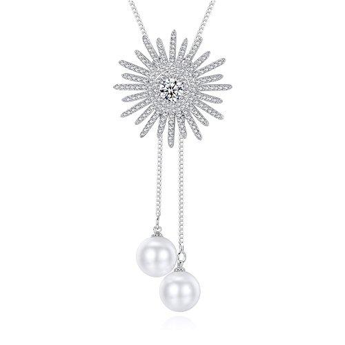 Frauen Halsketten Zirkon Perle Anhänger Halskette Pullover Kette - Carters Pullover