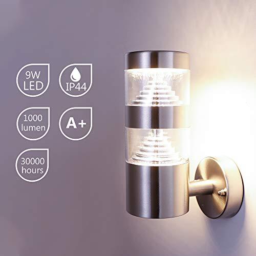 NBHANYUAN Lighting Wandlampe/Außenlampe Gartenleuchte LED Aussenwandleuchten für Balkon, Haus Silber Edelstahl 3000K Warmweiß Licht 220-240V 1000LM 9W IP44 (ohne PIR Sensor)