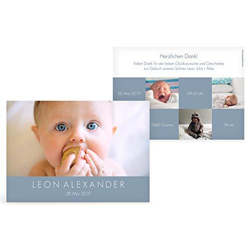 greetinks 60 x Geburtskarten \'Über dich\' in Blau   Personalisierte Karten zur Geburt zum selbst gestalten   60 Stück Babykarten Dankeskarten
