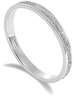Gefrostet Sterlingsilber Voll Ewigkeit Ring Größe 48- 65