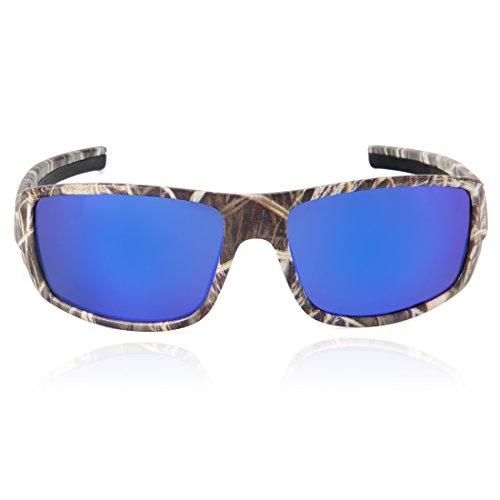 Quesahrk Herren Polarisiert Sonnenbrillen Sport Brillen Camo Rahmen für Jagd Rad Rennen (Camo-Blau) (Camo Brille Sport)