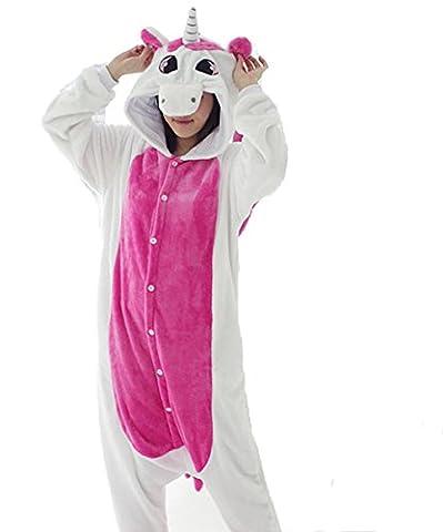Kenmont Jumpsuit Tier Cartoon Einhorn Pyjama Overall Kostüm Sleepsuit Cosplay Animal Sleepwear für Kinder / Erwachsene (Small, Unicorn (Pyjama Overall)