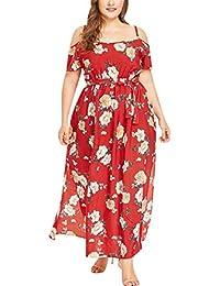 Vestidos Mujer Casual 2019-Ronamick vestidos casual talla grande vestidos largos de verano (rojo