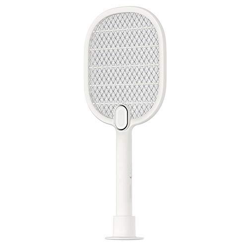 ALOOVOO Wiederaufladbarer Moskito-Schläger, Fly Swat Wasp Bug Mosquito Swatter - 4100 Volt USB-Ladefunktion, superhelles LED-Licht für das Zappen im Dunkeln,White -