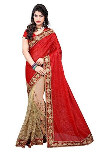 Glory Sarees Women's Net Saree With Blouse Piece (Deepikared _Red)