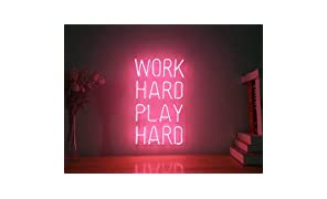 Work Hard Play Hard Real Glass Neon Sign For Bedroom Garage Bar Man Cave Room Home Decor Personalised Handmade Artwork Visual Art Dimmable Wall Lighting Includes Dimmer