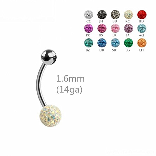 Acier – Banane – Cristal – époxy – 1,6 mm (piercings de nombril Bellybutton Banana Argent) RC arc / arc-en-