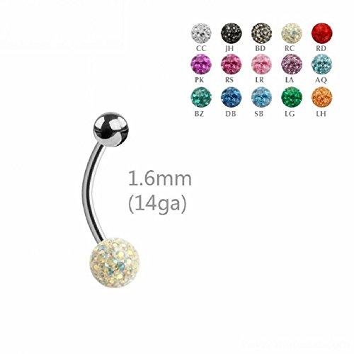 Acier–Banane–Cristal–époxy–1,6mm (piercings de nombril Bellybutton Banana Argent) RS - Rose / Rose