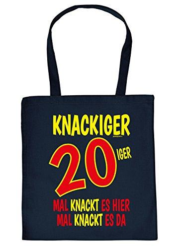 Stoffbeutel/Spaß-Tasche/Sprüche-Tasche Thema Geburtstag: Knackiger 20iger Mal knackt es hier Mal knackt es da