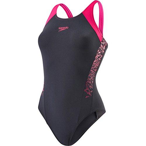 Speedo Damen Boom Muscleback Badeanzug mit Passe Swimwear Boom Muscleback Badeanzug mit Passe, Oxid/Electric Pink, Gr. 34 (Herstellergröße: 30)