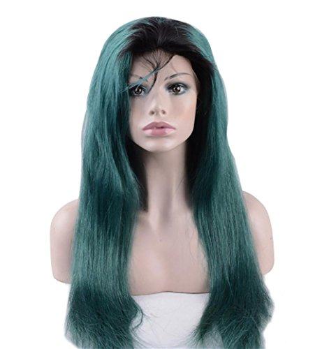 NHJFWG Frau Perücken 26 '' Synthetische Spitze vorne Langes, glattes Haar Perücke Sets Dunkelgrün