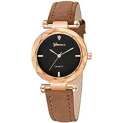 Montres de Montre de Quartz Rondes de Bande de Cuir de Mode féminine Quartz analogique Rond Intelligente Horloge Bracelet