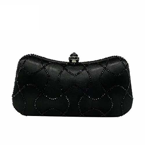 Fzhly Ladies Evening Bag Borsa A Mano In Raso Pacchetto Nero