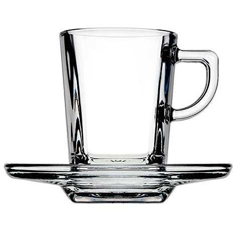 Pasabahce Carre' Service Espressotassen mit Teller, Glas, Transparent, 6 Stück
