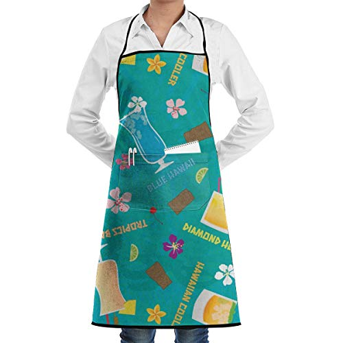 Hilton Hawaiian Village (Hilton Hawaiian Village Tropical Mixed Drinks Toss Adjustable Bib Apron for Women Men Chef - Restaurant Home Kitchen Apron Bib with 2 Pockets for Cooking, Grill and Baking, Crafting, Gardening)