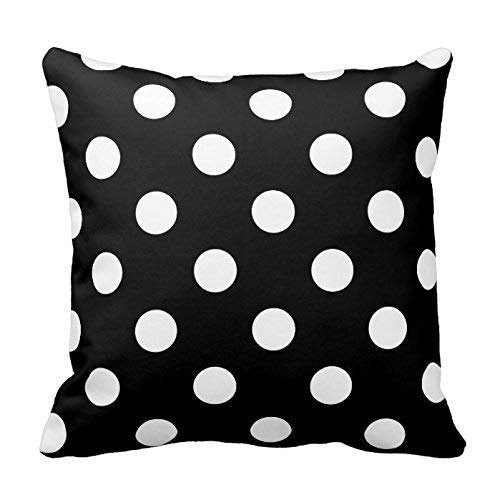 Zcfhike Black and Bright Aqua Polka Dots Design Throw Kissen Cover Case Decorative Square for Home Sofa 18X18 Inches Two Sides Dots Case Cover