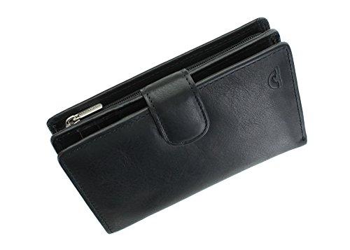 Tony Perotti Geldbörse Geldbeutel, vollnarbiges Leder, mit Laschenverschluss und RFID-Schutz 1009_1 Schwarz
