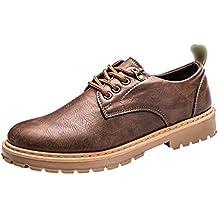 Sentao Hombre Retro PU Cuero Oxford Zapatos con Cordones Casual Zapatos de Conducción