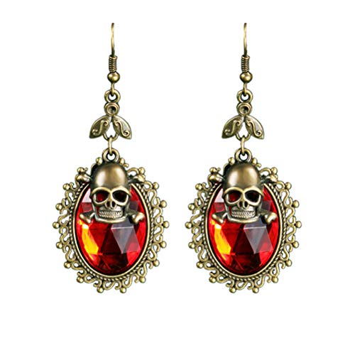 lver Halloween Collection Skull Unisex Pendant earings Vintage Style ()