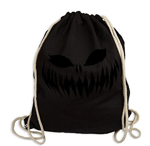 Ma2ca® Halloween Pumpkin Smiley black Gymsac Turnbeutel /Jutebeutel Rucksack-natural