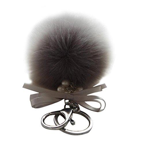 Preisvergleich Produktbild Oyedens Faux Kaninchenfell Ball PlüSch-SchlüSselanhäNger Tasche SchlüSselanhäNger (Grau)