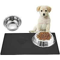 Ewolee Große Napfunterlage für Hund Katze Silikon 60x40CM Tiernahrung Matte Platzdeckchen Wasserdicht,Schwarz