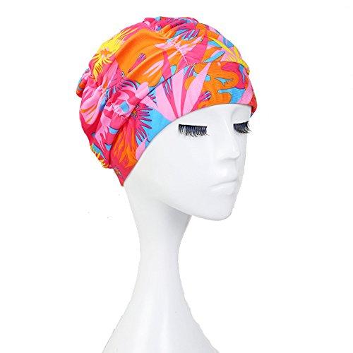 mmen Turban Badekappe fließenden Fall Elastic Plissee Badekappe Hat für Dreadlocks Langes Haar Sommer Pool Sea, Unisex, Pattern6 ()
