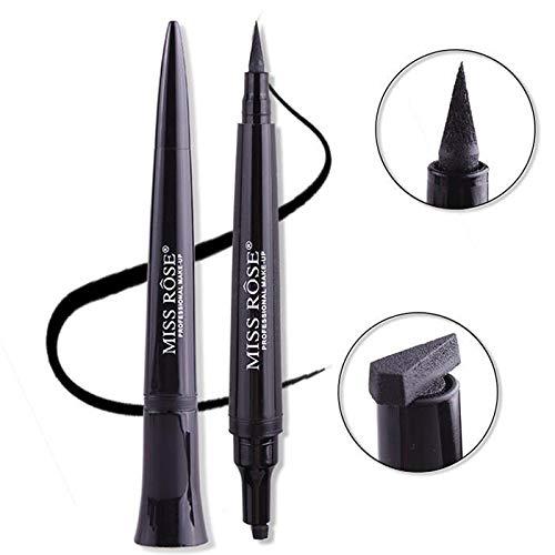 Miss Rose 3D Eyeliner Stifte mit Stempel Wasserdicht Bleistift Langanhaltend Doppelseitig -