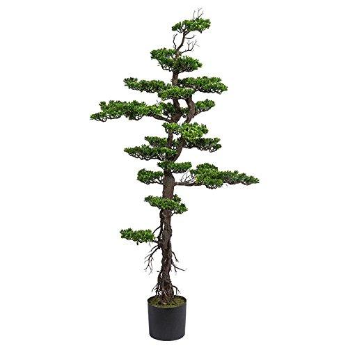 Kunstpflanze Bonsai schmal, grün, inkl. schwarzem Kunststofftopf, ca. 100 cm