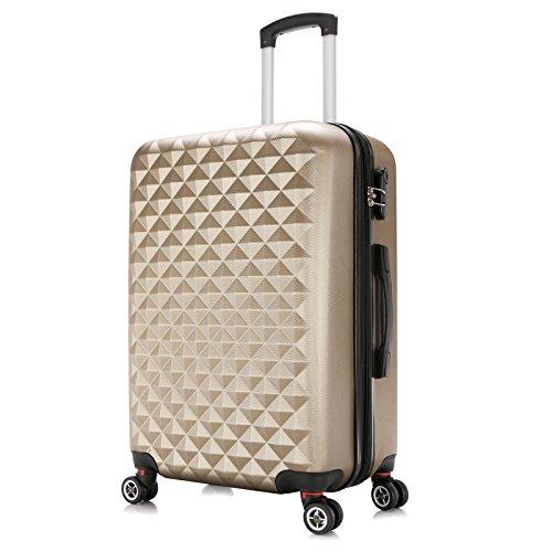 WOLTU RK4216ch-XL, Reise Koffer Trolley Hartschale 4 Rollen Volumen erweiterbar, Reisekoffer Hartschalenkoffer Zwillingsrollen Handgepäck groß M/L/XL/Set, Champagne (XL 76 cm & 110 Liter) - Erweiterbar Reisegepäck