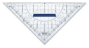 Staedtler - Mars 568 - Equerre Géométrique Plastique Transparent 22 cm avec Rapporteur Intégré et Poignée de Préhension Amovible