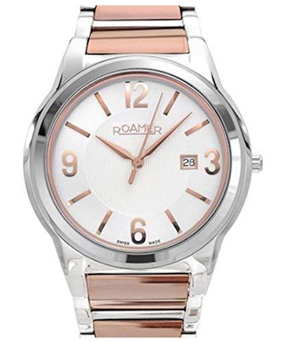 Roamer 507844 49 15 50 - Reloj analógico de cuarzo para mujer con correa de acero inoxidable, color oro rosa