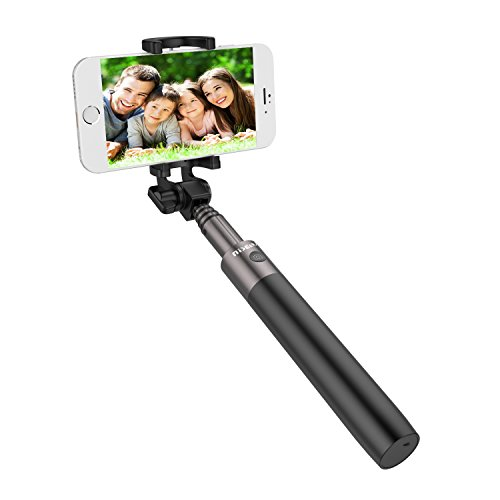 Bastone selfie Bluetooth, LOBKIN Bluetooth selfie stick Built-in Scatoo remoto autoritratto Extendable wireless monopod in Alluminio per smartphone IOS e android iPhone Samsung Huawei LG HTC (Nero)