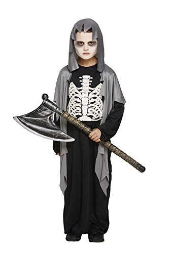 KID'S BOYS GRIM REAPER GRAVE DIGGER COSTUME HORROR ZOMBIE SKELETON GRAVEYARD GHOUL HALLOWEEN FANCY PARTY OUTFITS SIZE 4-12 YEARS (Large (10-12 Years), Grave Digger Costume) (Grave Reaper Kostüm)