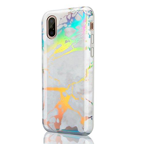 iPhone X (iPhone 10) Handy Hülle Tasche Cover Back Case,Vandot Soft Flex Clear TPU Silikon Transparent Glizter Bling Schutzhülle Ultra Dünn Schlank Bumper Handyhülle Premium Kratzfest Durchsichtige Kr Muster 6