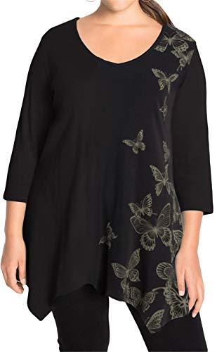 Übergröße 3/4-Arm 3/4-Ärmeln V-Ausschnitt Butterfly Asymmetrisch Hoch Niedrig Saum Unregelmäßige Saum Bluse Hemd T-Shirt Tunika Oberteil Top Schwarz XL -