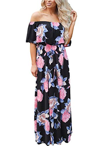 Oudiya+Sommerkleid Damen Schulterfrei Boho Kleider Lang Strandkleider Maxi-Kleid Side Split Cocktail Elegant mit Tasche (B-Schwarz, XXL) - Maxi Split Side