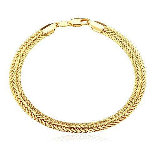 (MESE London Herren Schlange Geformt Armband aus 18 Karat Gelbgold Überzogen mit 21 cm Länge)